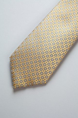 gold tie with silver blue flowers silk Angelico