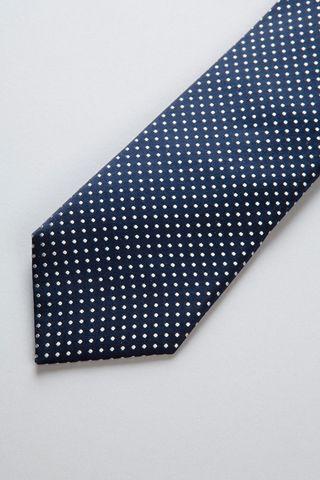 cravatta blu pois medi perla seta Angelico