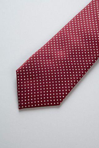 cravatta bordeaux pois medi perla seta Angelico