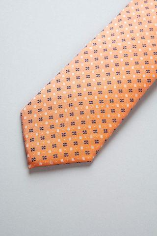 cravatta arancione fiori blu seta Angelico