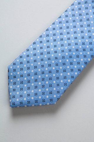 cravatta azzurra fiori blu seta Angelico