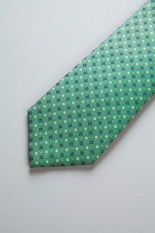 cravatta verde fiori blu seta Angelico