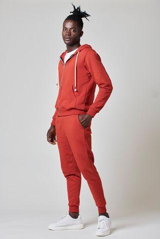 pantalone felpa mattone bordi costina Angelico