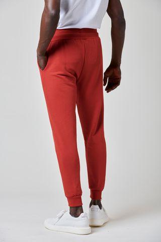 red fleece jogger rib closed bottom Angelico
