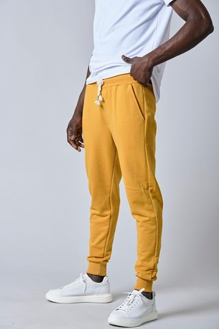 pantalone felpa giallo bordi costina Angelico