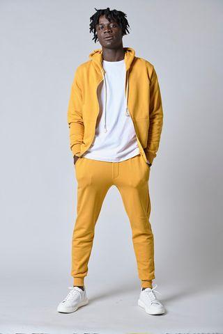 pantalone felpa giallo bordi costina Angelico