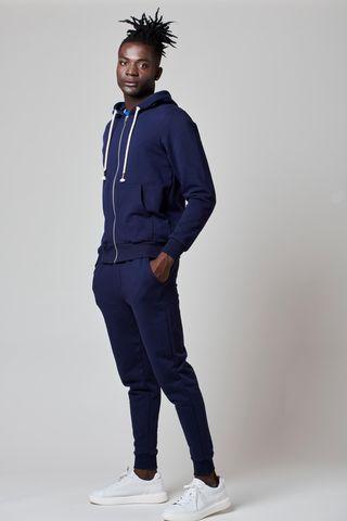 pantalone felpa blu bordi costina Angelico