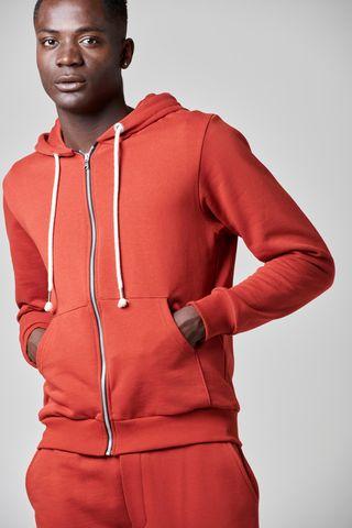 red zipper hooded sweatshirt Angelico