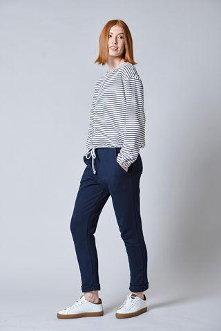 white-blue sweatshirt striped and drawstring Angelico