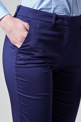 blue satin trousers with turn-up Angelico