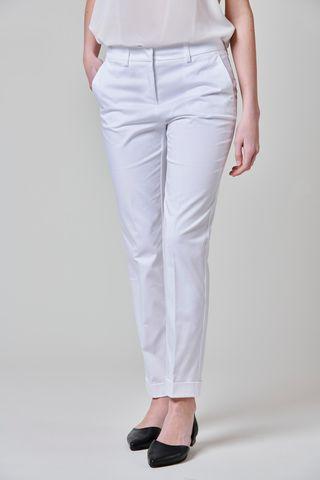 pantalone bianco satin con risvolto Angelico