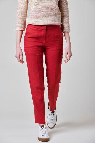 pantalone rosso lino con spacchetti Angelico