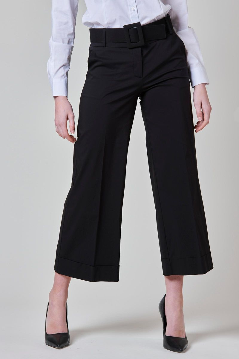 black cropped satin trousers with turn-up Angelico