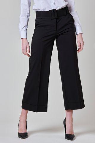 pantalone nero cropped raso con risvolto Angelico