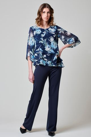 blue floral blouse with elbow sleeves Angelico