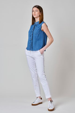 camicia smanicata jeans con rouche Angelico