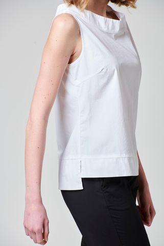 top bianco cotone asimmetrico Angelico