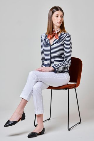 blue striped fleece jacket with jewel buttons Angelico