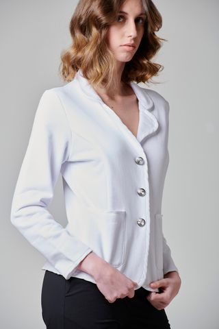 white fleece jacket with jewel buttons Angelico