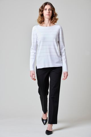 white viscose sweater with silver stripes Angelico