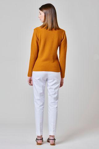 cardigan arancione in maglia 3 bottoni Angelico