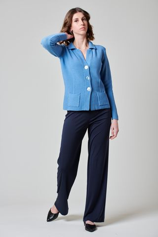 Cardigan azzurro polvere in maglia 3 bottoni Angelico