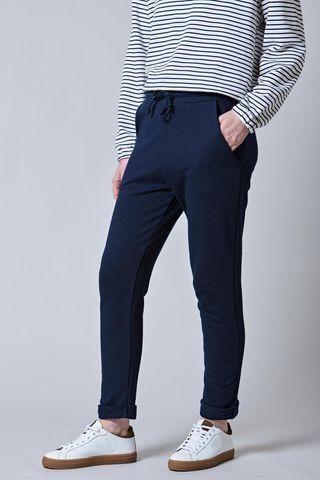 pantalone blu felpina con risvolto Angelico