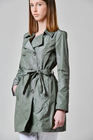 double-breasted sage green trench Angelico