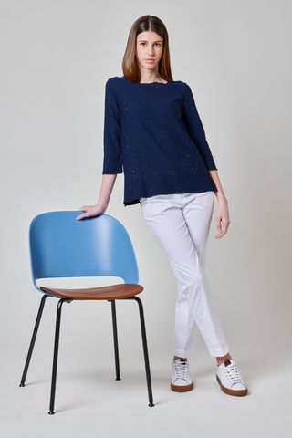 blue cotton sweater micro sewn sequins Angelico