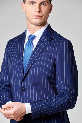 abito blu gessato largo tessuto cerruti slim Angelico
