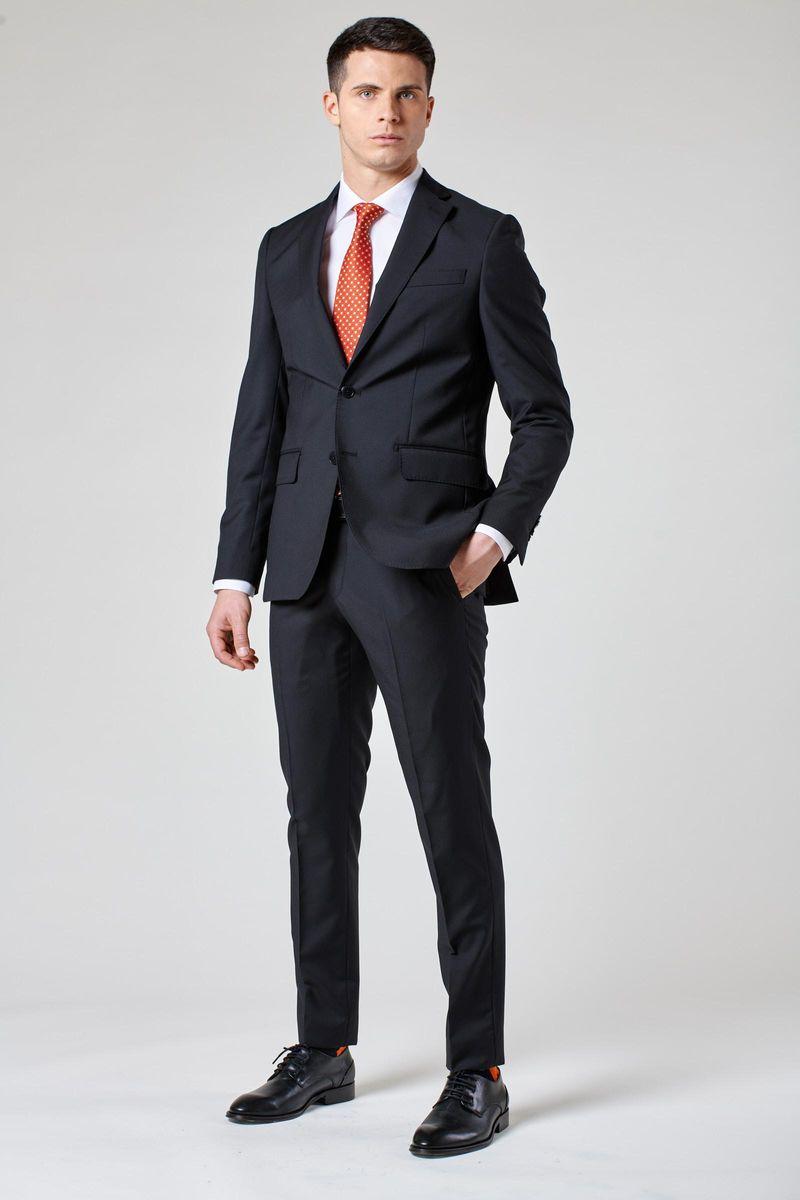 abito nero slim tela di lana 100s Angelico