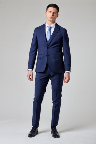 abito blu galles con gilet tessuto cerruti slim Angelico