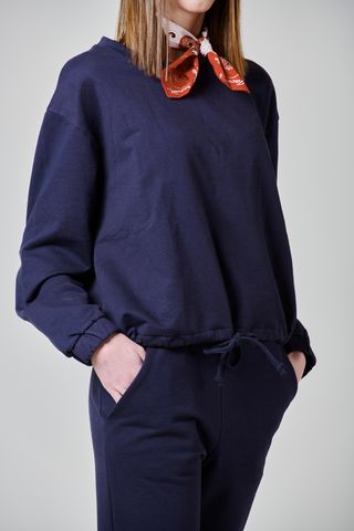 navy sweatshirt with drawstring Angelico