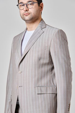 beige pinstriped suit comfort barberis fabric Angelico
