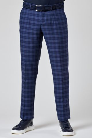 Blue checkered wool Slim trousers Angelico
