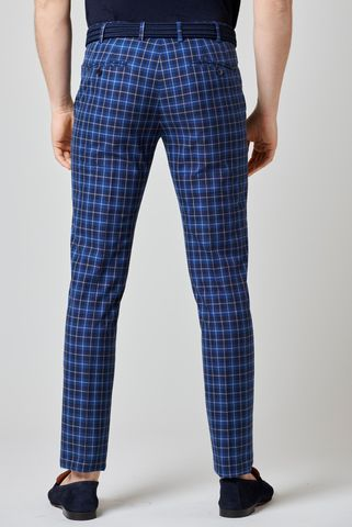 blue-white checkered cotton trousers slim Angelico