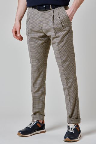 Beige checkered trousers 2 plats turn-up slim Angelico