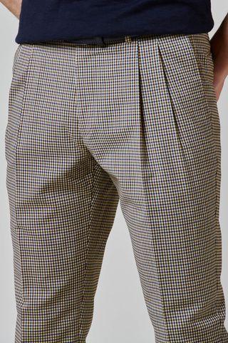 pantalone beige quadretto 2 pinces e risvolto slim Angelico