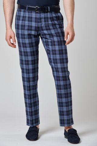 Navy-blue tartan wool trousers Angelico