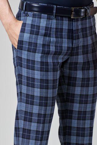 pantalone blu-azzurro scozzese lana slim Angelico