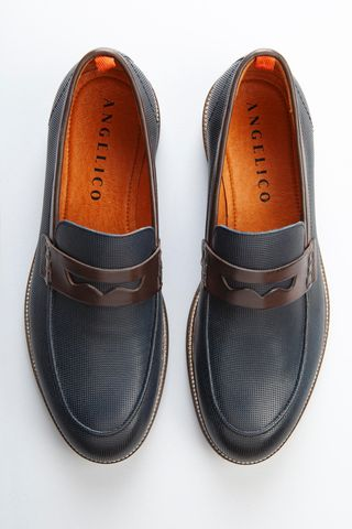 navy moccasin with perforated motif Angelico