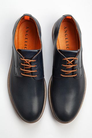 blue derby shoes with perforated pattern Angelico
