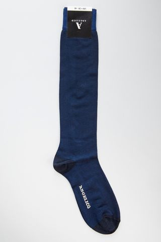 navy jacquard socks stretch cotton Angelico