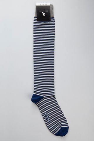 Blue-grey striped socks stretch cotton Angelico
