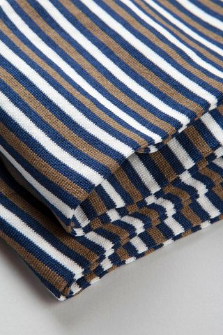 blue-brown striped socks stretch cotton Angelico