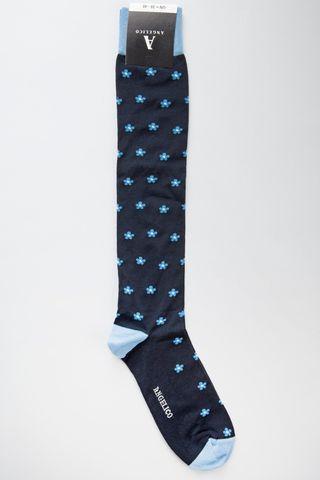 calza blu fiori azzurri cotone stretch Angelico
