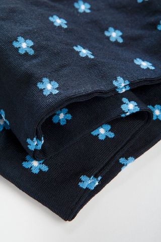 blue socks with azure flowers stretch cotton Angelico