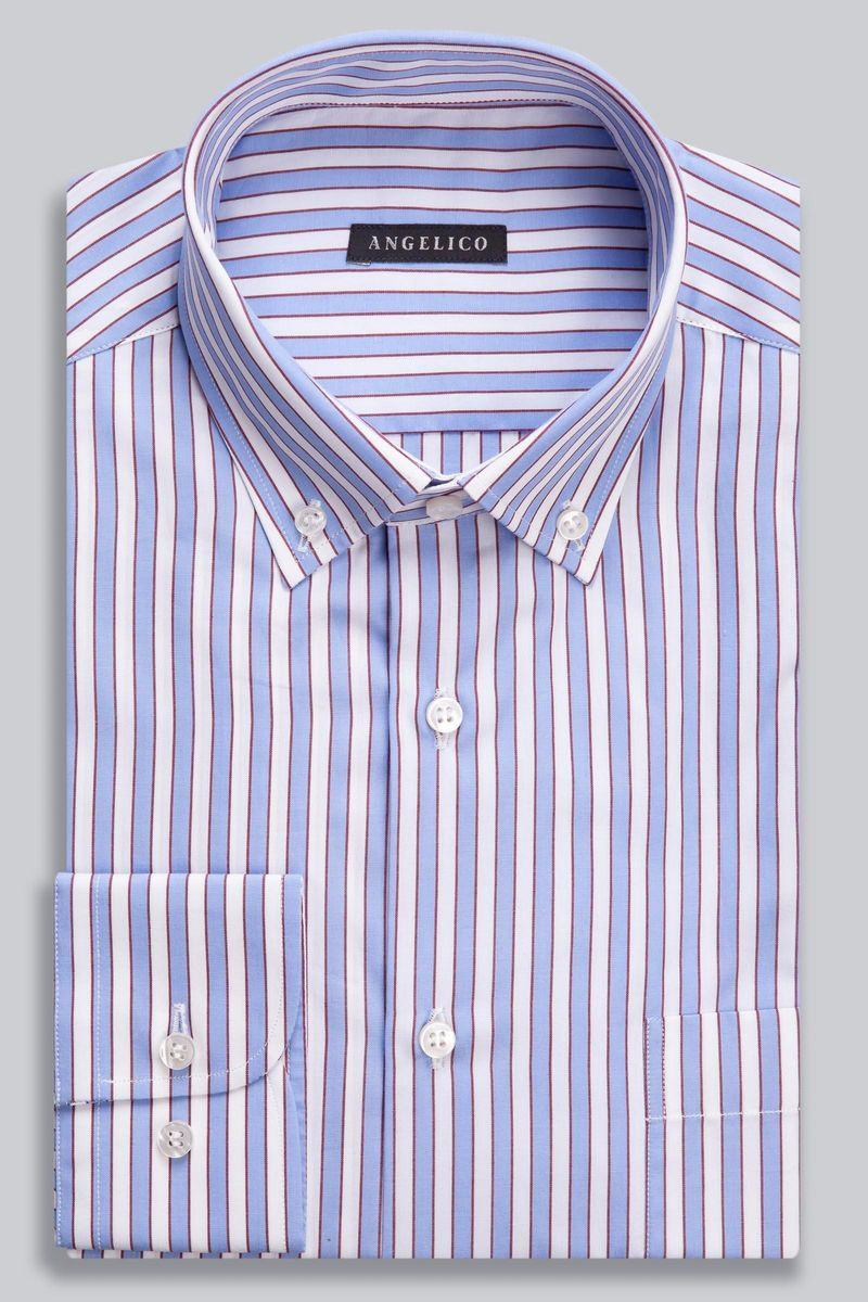 camicia bianca riga azzurra-bordeaux larga bd Angelico