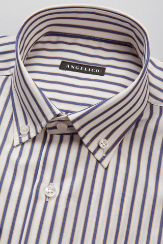 white shirt with blue-yellow stripes bd Angelico
