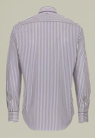 camicia bianca riga blu-gialla bd Angelico